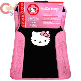 Hello Kitty 4pc Floor Mats Pink Black Car Auto Accessory