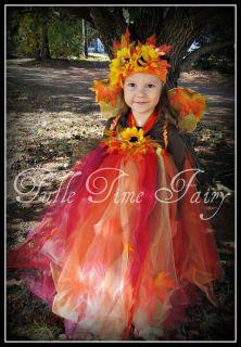 Autumn Fall Fairy tutu dress costume 12 m 18m 2t 3t 4t orange red