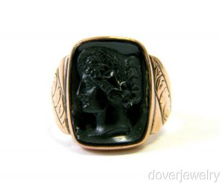 gallery now free antique victorian 14k rose gold black cameo ring nr