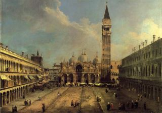 Canaletto Painting Repro Piazza San Marco Looking East Along The