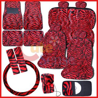 Black Red Zebra Car Seat Covers Auto Accessories 17pc