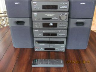 Sony remote controlled cd player, radio, dual cassette boombox with 4