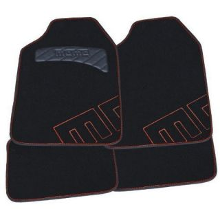 Momo Car Floor Mats Carpet Kit Blk Red