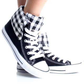 Womens High Top Sneakers Canvas Skate Shoes White Plaid Lace Up Boots