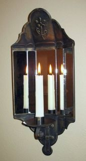 Vintage Metal Tin Mirror WALL CANDLE HOLDER SCONCE Light Reflectors