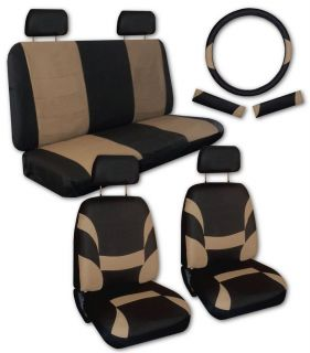 Tan Black Faux Leather Xtreme Car Seat Covers FREE Accessories Z