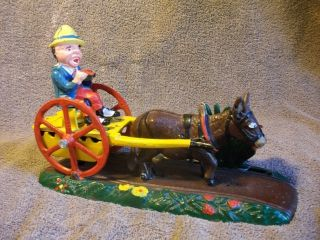 James D Capron Mechanical Cast Iron Bank Bad Accident Mule Donkey