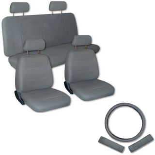 Faux PU Leather Truck Car Seat Covers 11 Pcs Superior All Grey Gray