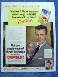Vintage 1960 Camel Cigarettes Ad N Y Giant Dick Nolan