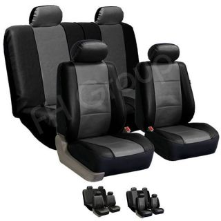 FH PU001114 PU Leather Car Seat Covers w 4 Headrests Solid Bench Gray