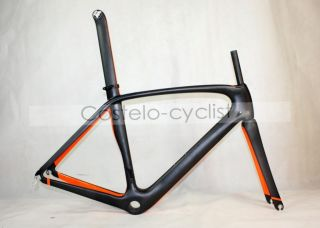 Carbon Road Bike Frame Matte Black White Paint 54 0 COS099