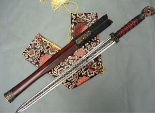 Red Cliff Antique Sword Medium Carbon Steel Bit Lozenge Pattern Copper