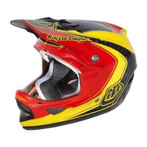 Troy Lee Designs D3 Carbon Fiber Helmet Mirage Red Yellow Size Small
