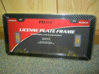 NEW Pilot Chrome Carbon Fiber Car Truck/SUV Van License Plate Frame