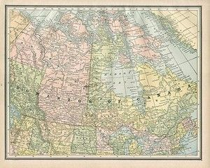 DOMINION OF CANADA authentic Antique Map genuine 125 years old made in