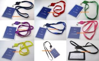 ID Card Holder Reel Retractable Badge with Neck Strap Key Tag Clip