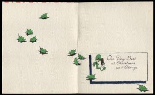 Vintage Christmas Greeting Card Man & Lady Buzza Cardozo c1950s UNUSED