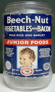 1940s Beech Nut Vegetables with Bacon Baby Food Jar