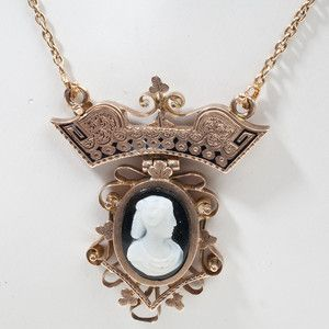 Victorian Onyx Cameo Gold Necklace Pendant Vintage Estate Jewelry