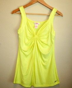 Womens Candies Neon Yellow Ruched Front Sleeveless Tank Top Size