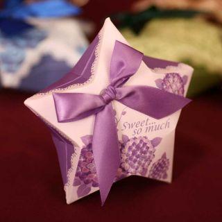 Purple Hydrangea Wedding Favors Gift Candy Chocolate Buffet Box