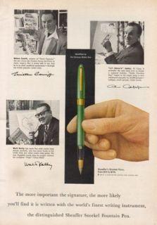 Capp Lil Abner~Walt Kelly Pogo~Millton Caniff Sheaffer Fountain Pen Ad