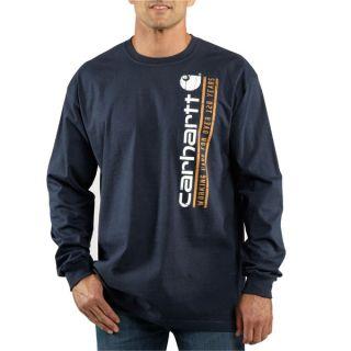 Carhartt Long Sleeve Vertical Logo Graphic T Shirt Navy 100009 412
