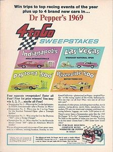 1969 69 DR PEPPER 4 TO GO SWEEPSTAKES AMX CHARGER VINTAGE AD