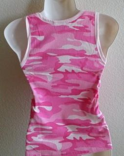 BRAND NEW 2 PC PINK WHITE CAMO CAMOUFLAGE ATHLETICS RIBBED TANK TOP M