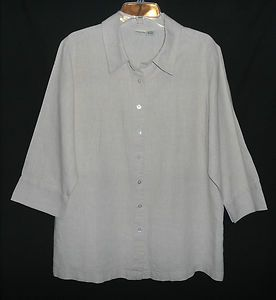 Womens 1X Linen Camp Shirt LINDEN HILL Beige Button Up 3 4 Sleeve Top