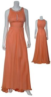 Carmen Marc Valvo Luxe Ruched Apricot Silk Chiffon Rhinestone Gown
