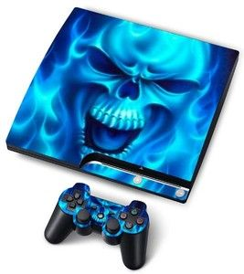Blue Flame Skull Decal Sticker Skin for PlayStation 3 PS3 Slim 1