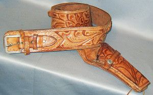 Western Tooled Leather Ammo Gun Belt Rig w Holster