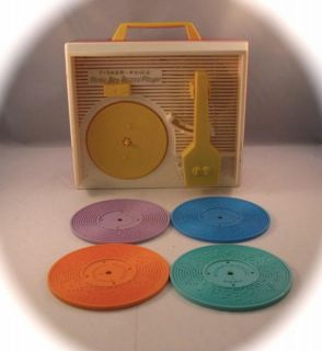 Vintage Fisher Price Red Music Box Record Player 1971 Set of 4 Records