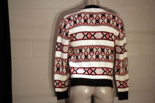RED BLACK VINTAGE 50s ZIP FRONT CAMPUS USA ROCKABILLY SWEATER CARDIGAN