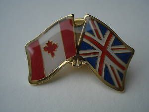 United Kingdom Canada Crossed Flag Friendship Pin