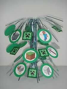 Handmade Minecraft birthday party supplies table centerpiece