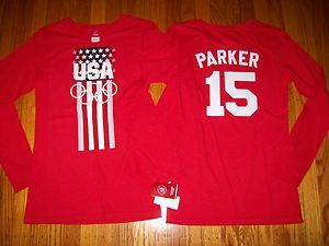 TEAM USA CANDACE PARKER WOMENS OLYMPIC LONG SLEEVE JERSEY SHIRT LARGE