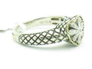 Andrea Candela 18k & Sterling Silver Heart Antique Flower Diamond Ring