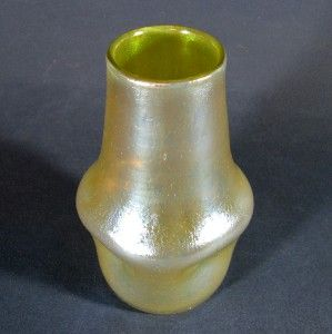 Loetz Iridescent Candia Silberiris Art Glass Vase w Dimples Polished