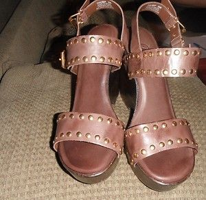 Carlos Santana Leather Platform Wedges SZ 8M 8