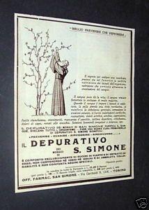Pubblicità Depurativo Dei Monaci Di San Simone 1933