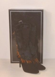 Capelta Size 42 Euphoric Prey Black Fur Feather Boots