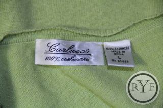 CARLUCCI Lime Green 100% CASHMERE Long Sleeve VNECK SWEATER Blouse