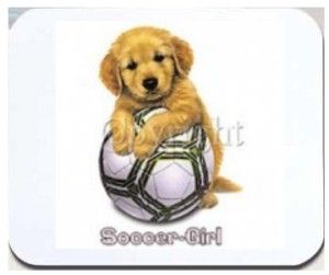 New Mouse Pad Soccer Girl Sports Puppy Dog Ball