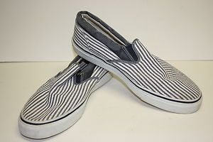 SPERRY Mens TopSider Canvas Blue White Stripe Slip On Tennis Shoe Size