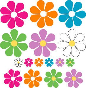 Stickers Decals Daisy Style Flower 60s Bug Retro Car Set of 16