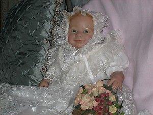 Reborn OOAK baby doll Carrie Ann, Christening Gown,(Nolan by Rebecca