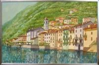 Joel M Roman Villagio Sul Como Lake Como  Origingal Painting on