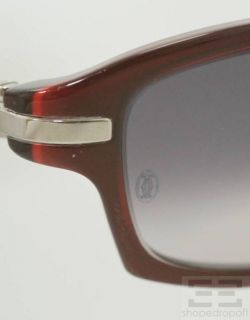 Cartier Dark Red Gradient Rectangular Frame Sunglasses